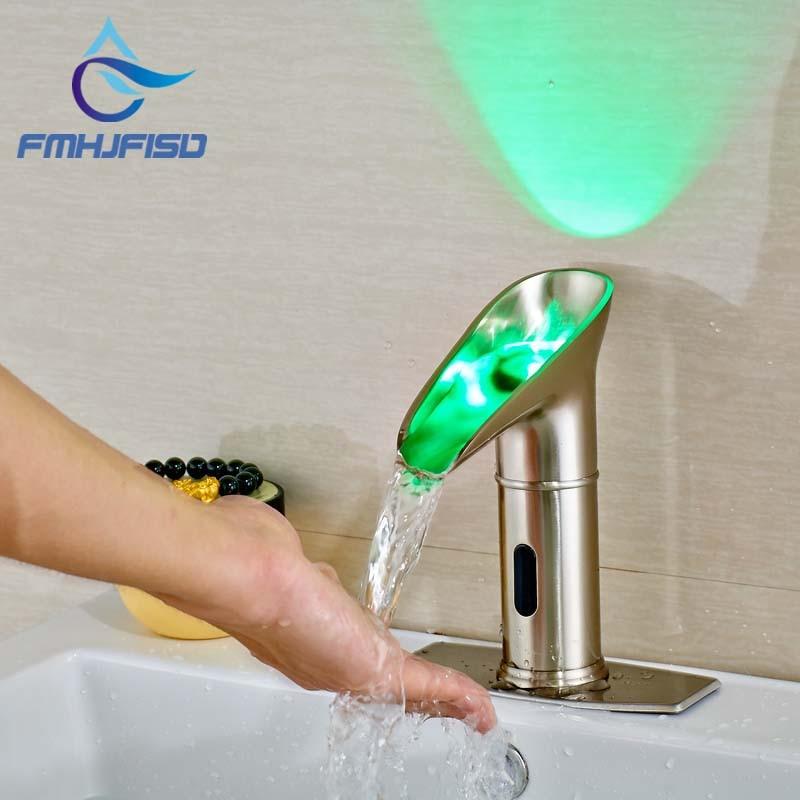 цена на New Arrival Hot Sale Three Color Changing Bathroom Sense Faucets Brushed