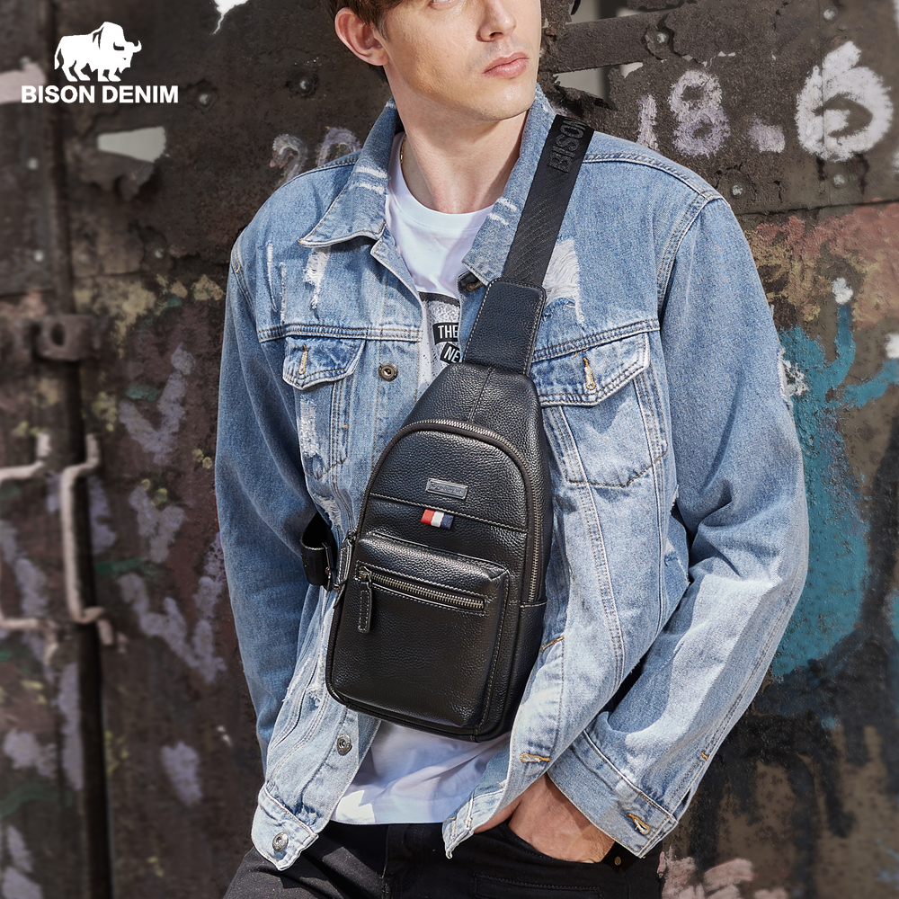 BISON DENIM Genuine Leather Crossbody Bag Waterproof Men s Bags Small Single Shoulder Strap Chest Pack