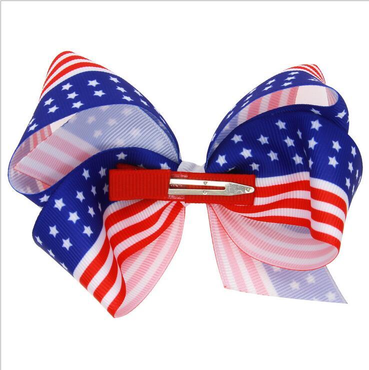 100pcs Free shipping American Flag red white blue ribbon hair bow clip