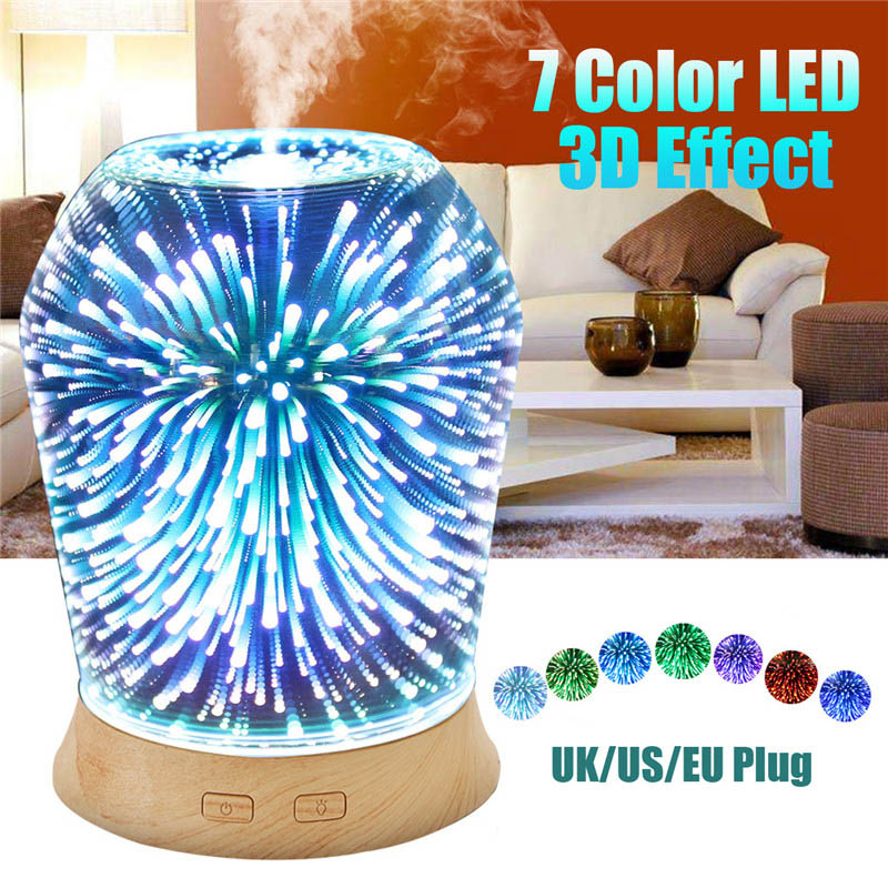 3D LED Ultrasonic Humidifier 100ml Aromatherapy Essential Oil Diffuser Home Humidifier For Gift EU/US/UK Plug hot sale humidifier aromatherapy essential oil 100 240v 100ml water capacity 20 30 square meters ultrasonic 12w 13 13 9 5cm