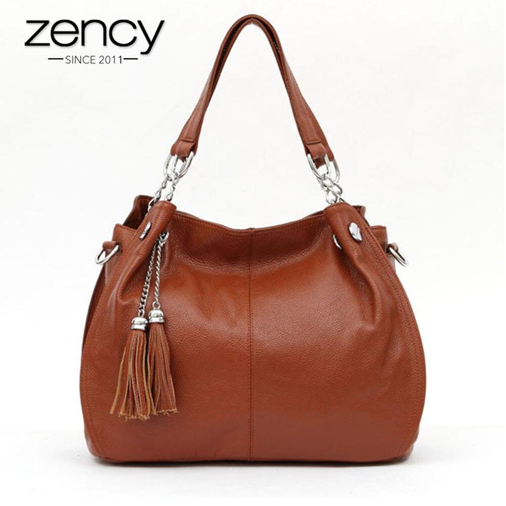 Zency Классический бренд Для женщин сумка 100% натуральная кожа Мода кисточкой Hobos Сумочка Дамы Crossbody Кошелек черный