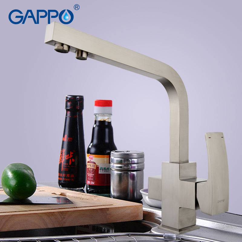GAPPO Solid Brass Kitchen Faucet Nickle Brushed Letter Seven Design Water Purification Fuction Cold and Hot Water Mixer G4307-5GAPPO Solid Brass Kitchen Faucet Nickle Brushed Letter Seven Design Water Purification Fuction Cold and Hot Water Mixer G4307-5