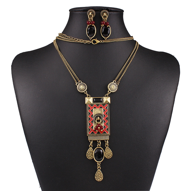 Fashion Women's Wedding Party Jewelry Sets Plating Ancient Silver Gold Rectangle Pendant Necklace Earring Jewelry Sets For Women