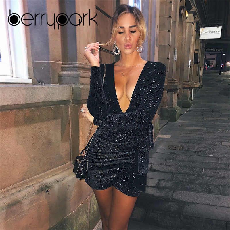 996fc6ac6b BerryPark Sequins Sparkle Bling Sexy Party Dress 2019 Winter Women Knit  Long Sleeve Sexy Deep V