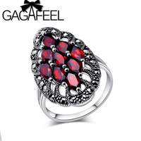 GAGAFEEL Authentic 100 925 Sterling Silver Rings With Garnet Stone Luxury Jewelry Brand Wedding Engagement For