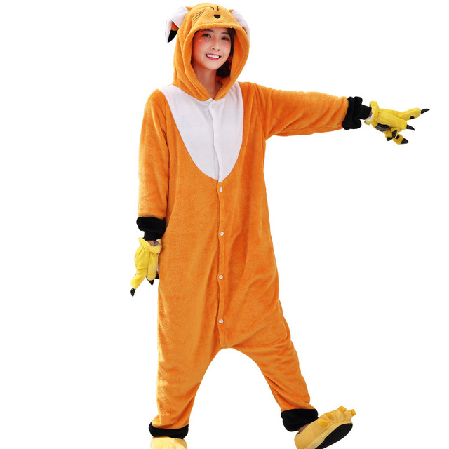 51d16da228 Kawaii Fox Onesie Animal Adult Men Women Orange Cute Kigurumi Pajama  Overall Halloween Party Jumpsuit Soft Flannel Sleep Costume