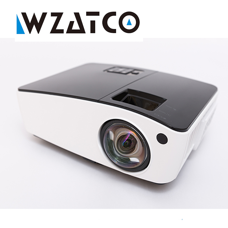 WZATCO Short throw Projector Daylight HDMI Home Theater 1080p full HD 3D DLP Projector Proyector beamer for church hall hotel проектор 6000ansi usb hdmi 1080 p hd 3d dlp proyector byintek