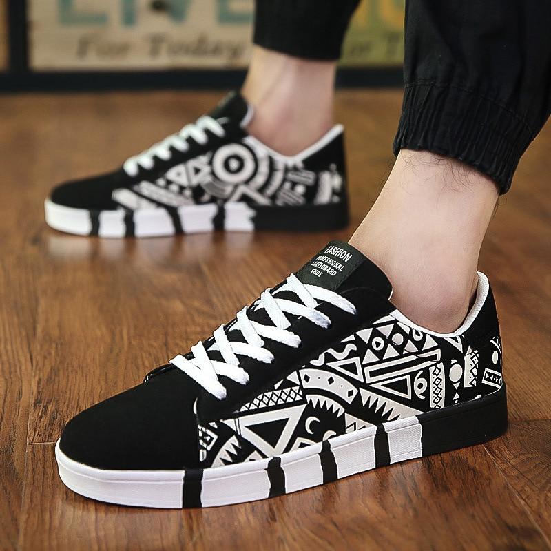 Men Casual Canvas Shoes Fashion Print Sneakers Summer Trainers Leisure Shoes Men's Flats Slip Shoes