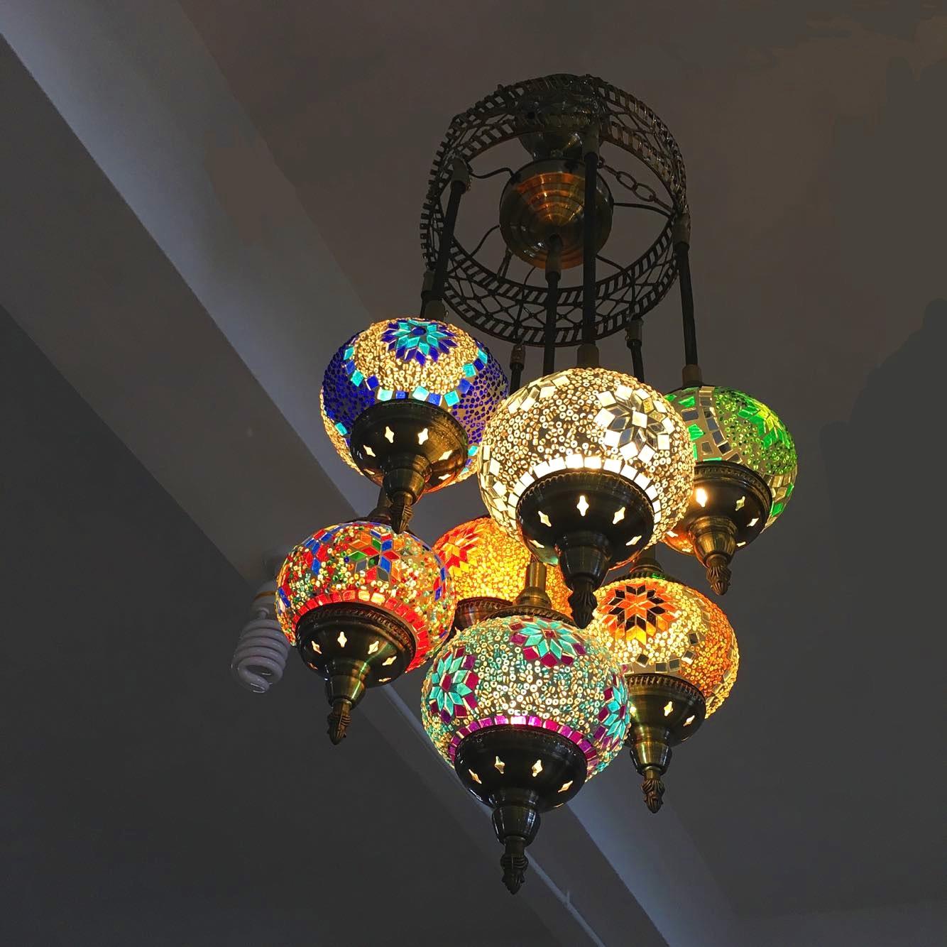 Turkish Moroccan Pendant Light Handmade Mosaic Stained Glass Corridor Stairwell Cafe Restaurant Hanging Light Lamp