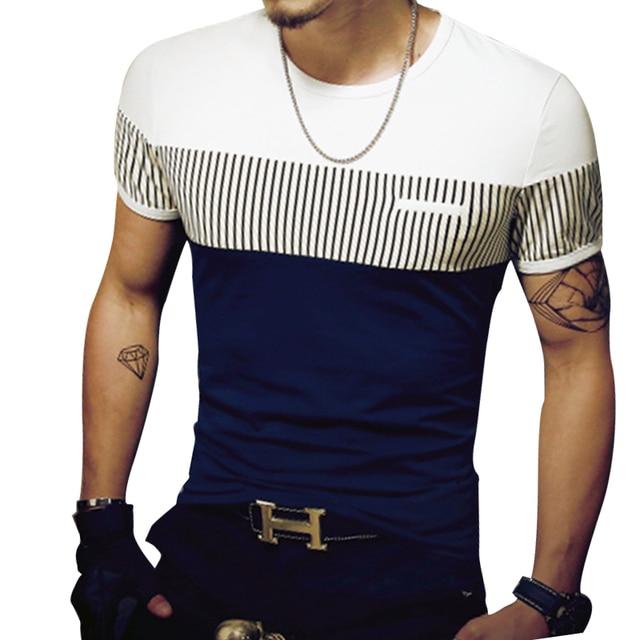 Patchwork Short Sleeve Men's Casual T Shirt 5