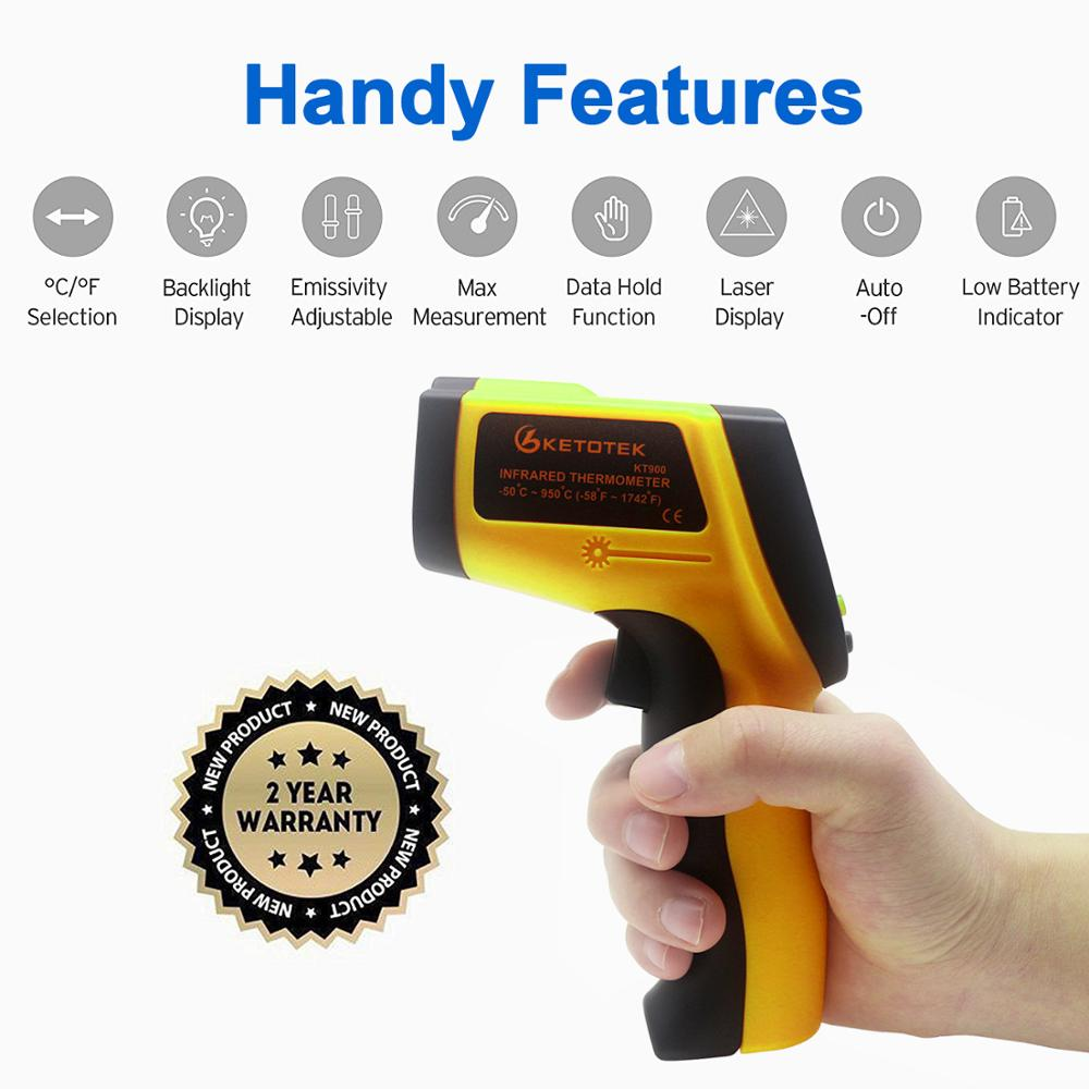 KT900 GT750 GT950 IR Infrared Thermometer Pyrometer 0 1~1 Emissivity  Non-Contact Digital Surface Temperature Thermometer