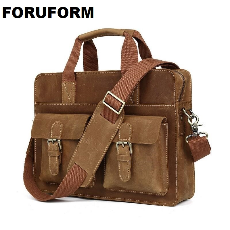 14 inches laptop Business bag Men Genuine crazy horse Leather Antique Style Briefcase Business Cases Messenger Bags Tote  LI-644