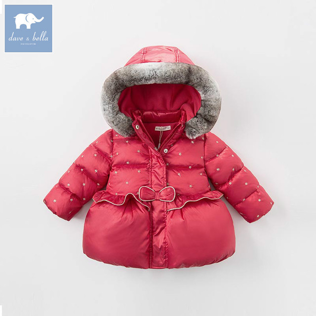 Flash Sale DBZ6505 dave bella winter infant baby girls down jacket children white duck down padding coat kids hooded outerwear