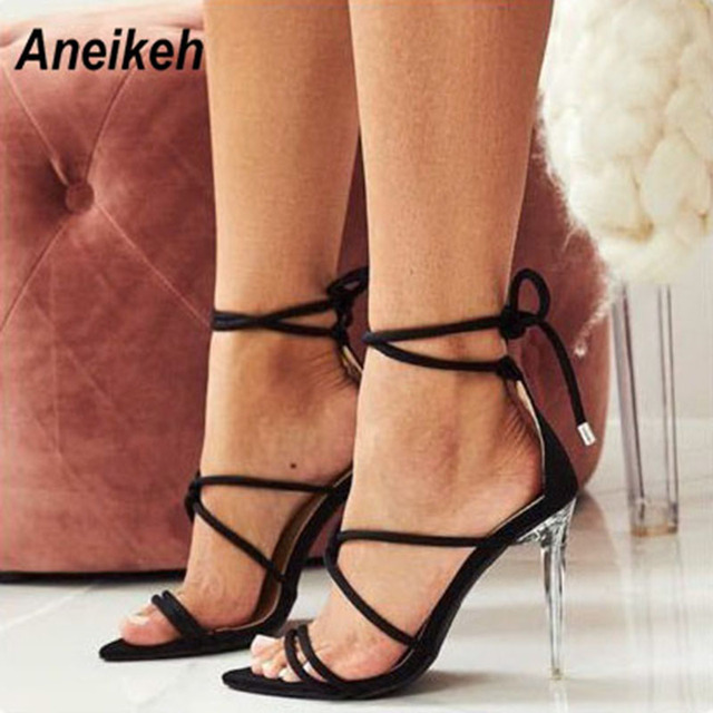 9d7058c9e Aneikeh 2019 Ladies Gladiator Sandals Flock Leather Thin Heels Narrow Band  Solid Buckle Strap Sexy Women's Shoes With Heel Party