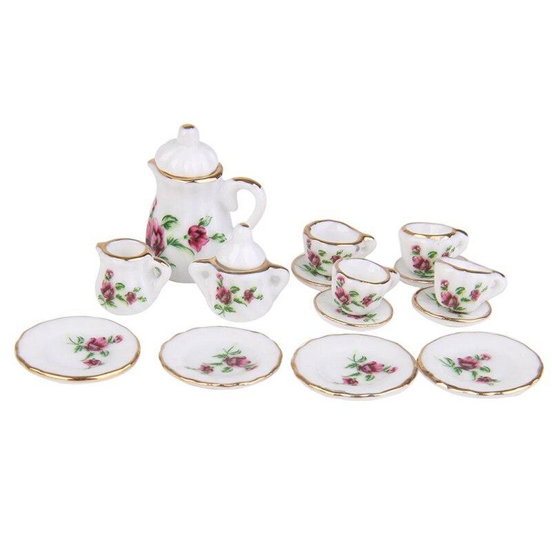 Новинка 1/12 кукольный домик Миниатюрный фарфоровый чайный сервиз блюдо чашка тарелка красный пион