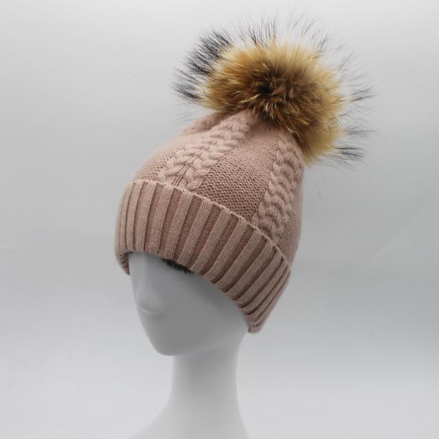 2016 New Raccoon Fox Fur Ball Hat Women Wool Hats Winter Beanies Real Fur Pompom Caps Skullies