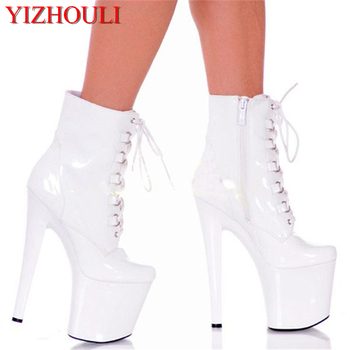 Hot selling women ankle boots 8 inch high heel plateform Round toe fashion shoes 20cm strappy classic short motorcycle boots image