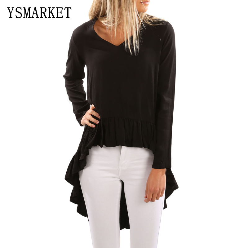 Women Blouse Black V Neck Longer Frilled Hemline Back Top Long Sleeves Loose Shirt Streetwear Fashion Spring E250300
