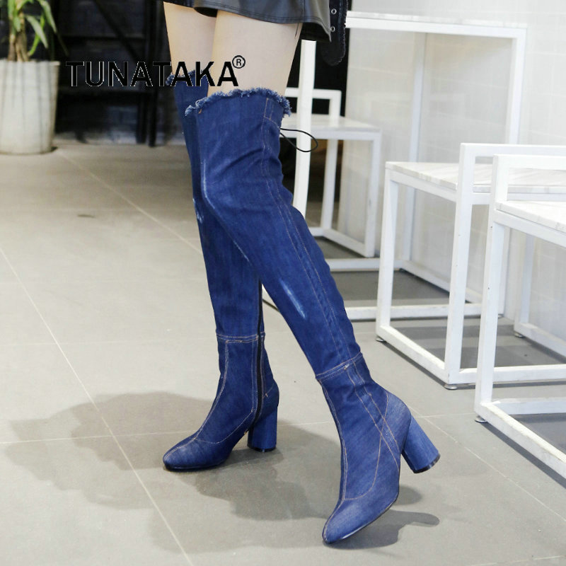 For Women's Thick High Heel Warm Winter Over The Knee Boots Fashion Side Zipper Denim Boots Blue Dark Blue fashion style destroy wash dark blue denim pants for men