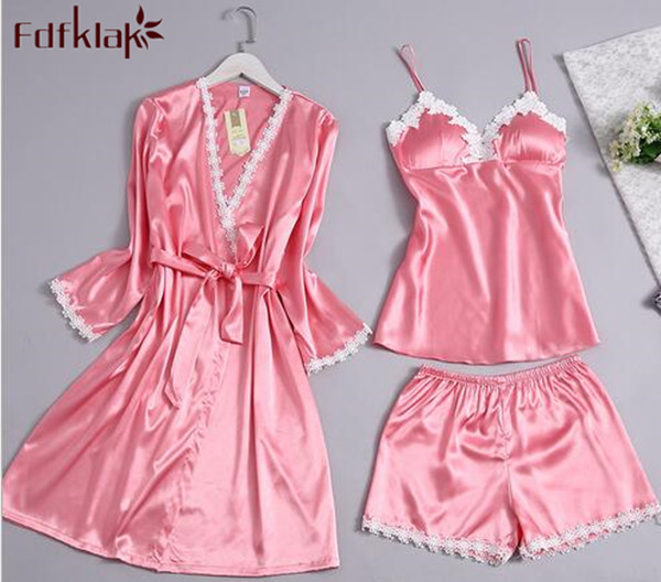 3 Pieces Set robe silk woman autumn winter long sleeve sexy v neck lace dressing gown