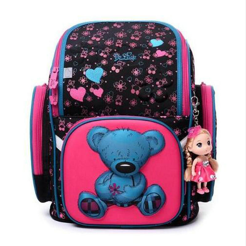 2017 Delune Brand New Girls School Bags 3D Cute Owl Cartoon Pattern Orthopedic Kids Backpack Children Schoolbag Mochila Infantil 2018 kids new brand foldable schoolbag girls cute 3d cartoon school bags children orthopedic waterproof school backpack for boys