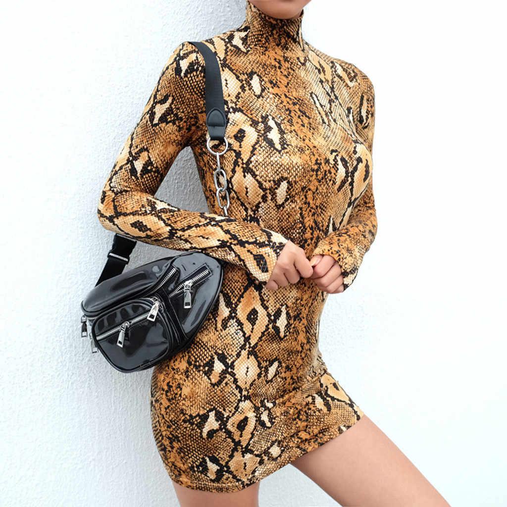 Seksowna sukienka kobiety wąż w paski długie rękawy golfem drukuj płaszcza Mini sukienka płaszcza nocna impreza klub Bodycorn sukienki kobieta