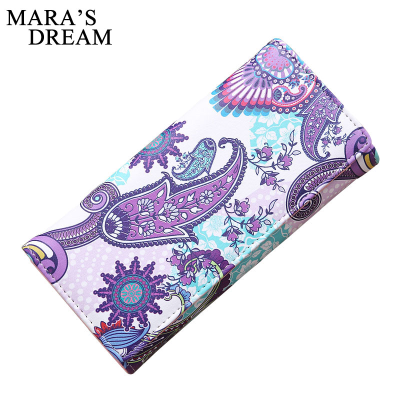 Mara's Dream 2018 Soft Leather Long Women Wallet Change Zipper Purse Clutch Printed Money Phone Card Holder Female Wallets
