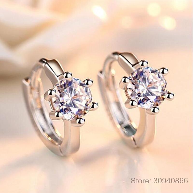 925 Sterling Silver Earrings Six Claw Zirconia Heart Arrow Round Hoop Earrings For Women Best Gift S-E184