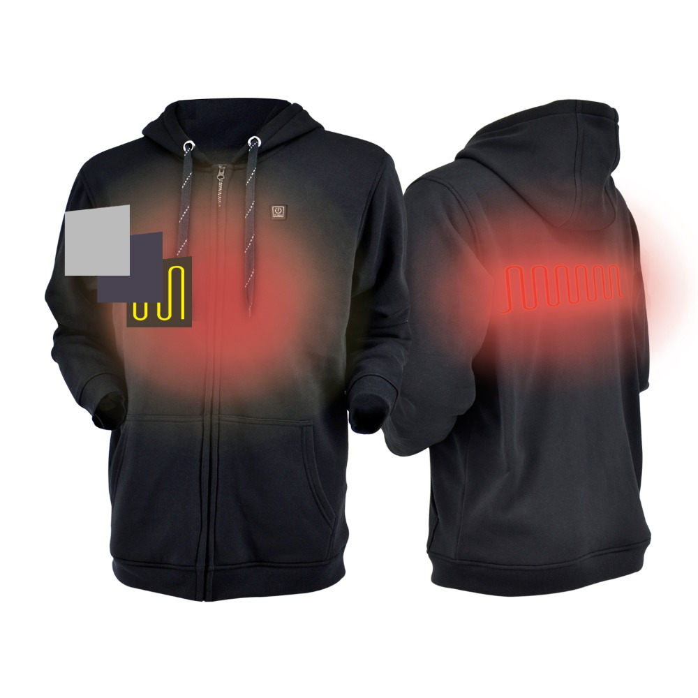 Dr Qiiwi Men and Women Outdoor Heated Hoodie Soft Lightweight Heating Hooded Jacket Coat for Cold