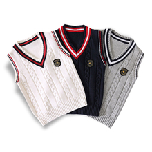 Wiosna jesień 100 bawełniany sweter teen boy #8217 s sweter w szpic kamizelka dzieci kamizelka szkoły dziewczyny zimowe swetry na 4-14 lat tanie tanio Prosic COTTON W stylu Preppy Stałe REGULAR V-neck Unisex boys sleeveless waistcoat Bez rękawów Łączone Pasuje prawda na wymiar weź swój normalny rozmiar