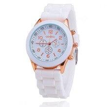 kobiet zegarka2017 Geneva Casual Watch Women Dress 12 Colors Silicone Unisex Quartz Wristwatch Fashion Sports Watches Gift clock цена