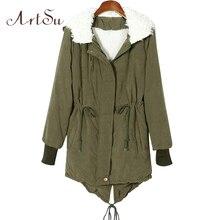 ArtSu Winter Jacket Women Slim Zip Hooded Parka Fleece Thick Cashmere Warm Coat Overcoat Jackets Outwear Plus Size ASCO20029