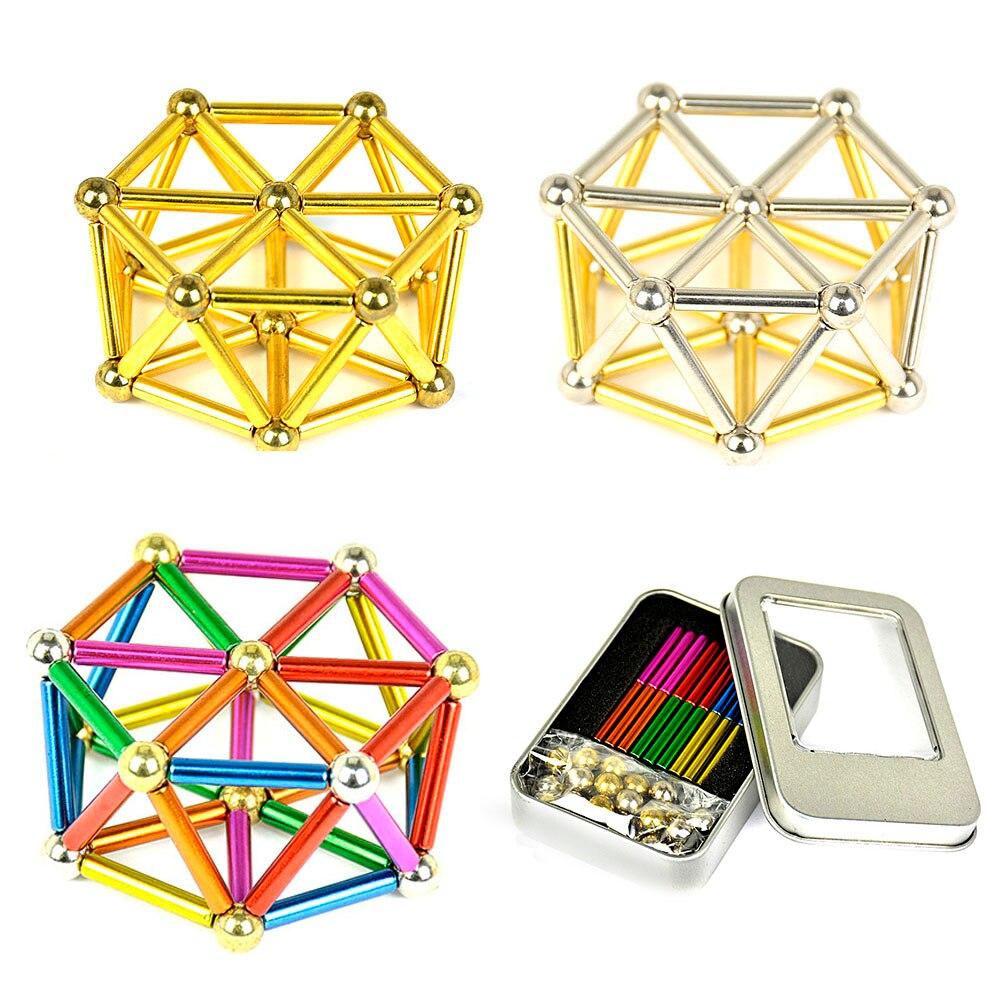 1set magnet balls 8mm Neodymium Magnet Bars magnetic force toy Metal Balls Construction  ...