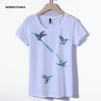 Women 2017 Summer Short Sleeve Sequined Diamond Birds Print T Shirts Fashion Slim White Black Top