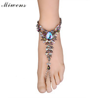 Miwens Brand Europe New style Simple Fashion Women's Anklets Hot selling Flowers Acrylic Rhinestone Anklets 7911