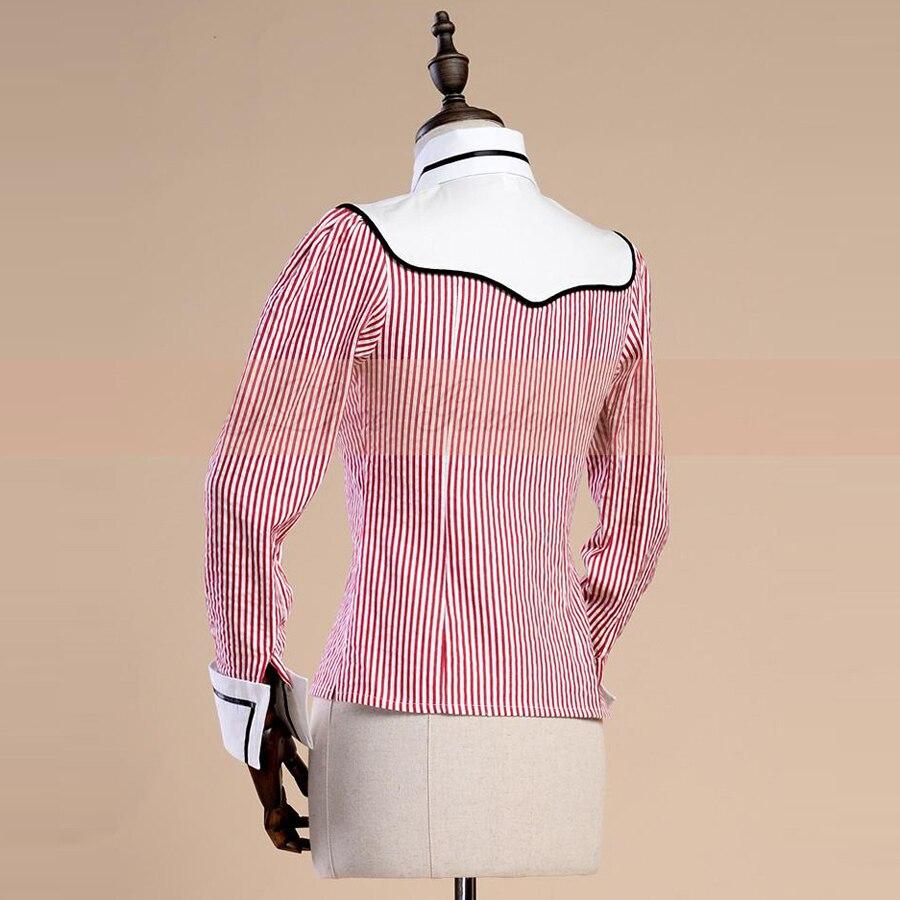Nueva primavera otoño mujer Oficina señora Camisa de algodón Vintage gótico Jacquard rojo raya blusa femenina Casual Delgado Formal camisas-in Blusas y camisas from Ropa de mujer    3
