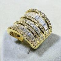 Виктория Вик модные крупные украшения Т образный AAAAA Циркон CZ Обручальное кольцо для женщин желтого золота заполнены Обручение кольцо
