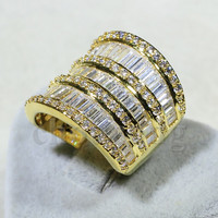 Victoria Wieck Fashion Big Jewelry T shape AAAAA zircon cz wedding band ring for women Yellow Gold Filled Engagement Ring