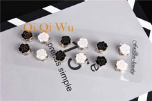 12pcs Muslim Strong Magnet Brooch pin black and white enamel islamic women gift hijab scarf breast pin veil Safety Pins 12pcs dozen mix color classic round solid magnet brooch hijab accessories muslim magnetic pin hijab scarf buckle magnet