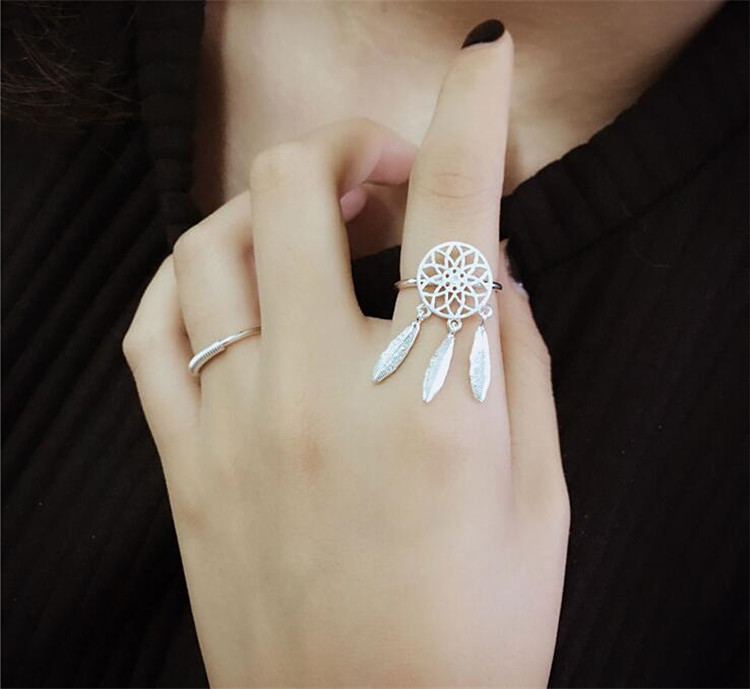 925 Sterling Silver Rings For Women Dreamcatcher Feather Tassel Resizable Rings Jewelry Bague Anillos S-R211