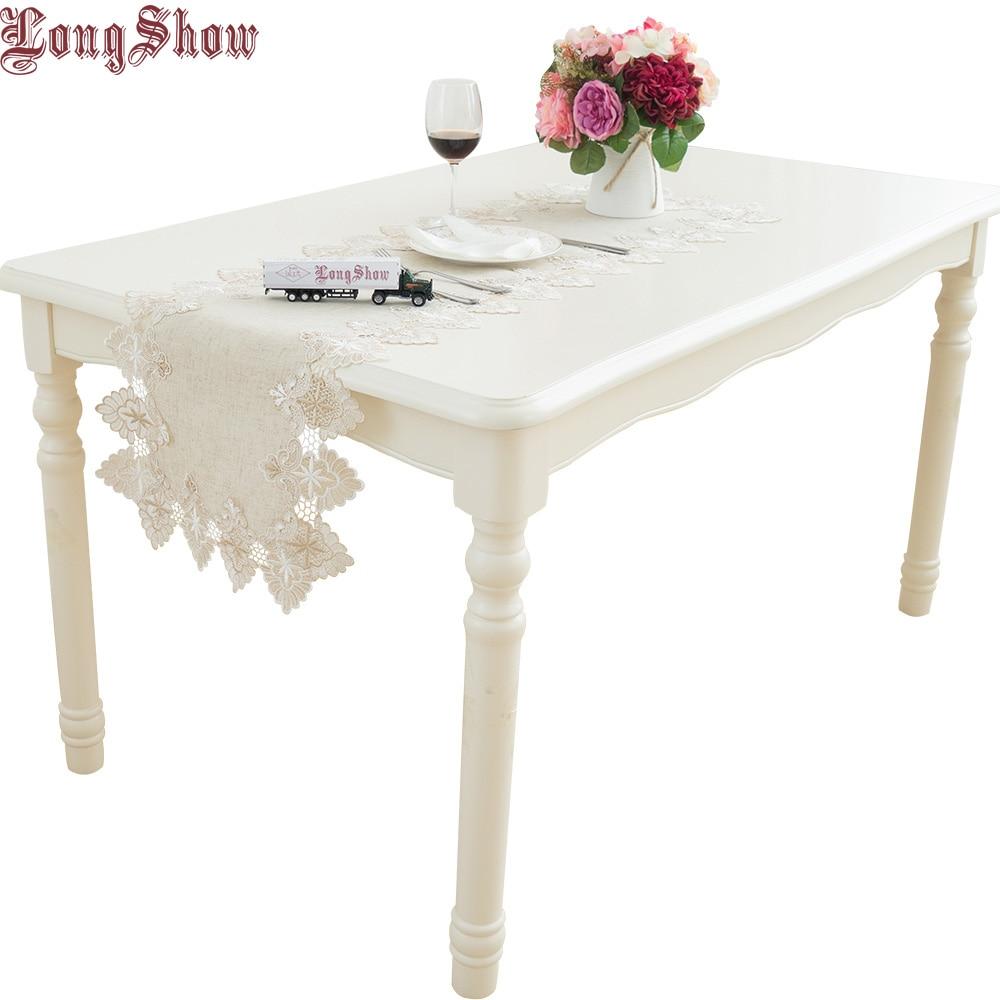 LongShow Vintage Elegant 40x90 40x130 40x160cm Vyšívaný krajkový trim Burlap Oblékací stolek