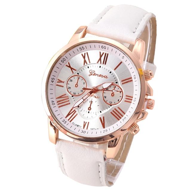 NEW Best Quality Geneva Platinum Watch Women PU Leather wristwatch casual dress reloj ladies gold gift Fashion Romantic