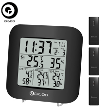 Digoo DG-TH3330 Hygrometer Thermometer Sensor Uhr Wohnkomfort 3 Kanäle Digital In & Outdoor