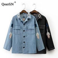 QoerliN XL 5XL Oversize Store/Denim Jacket Women Embroidery Floral Coat Jacket Female Big Size Outwear Spring Vintage Jeans Coat