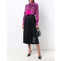 Women Black Skirt 2019 Spring Summer Pleated Cotton Casual A Type Knees High Waist VLT Letter Print Brand Woman Skirt