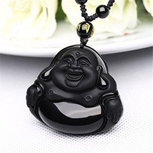 New 100% Natural Obsidian Pendant Carved Laughter Maitreya Buddha Women Mens Amulet Lucky Jades Jewelry Pendants+Beads Necklace
