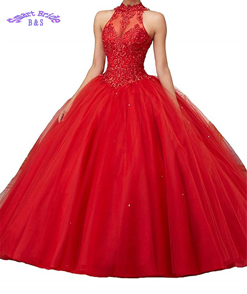 Beaded Ball Gowns Long Lace Applique Tulle Quinceanera Dress for Sweet 16 Prom Formal D Open Back BaD4