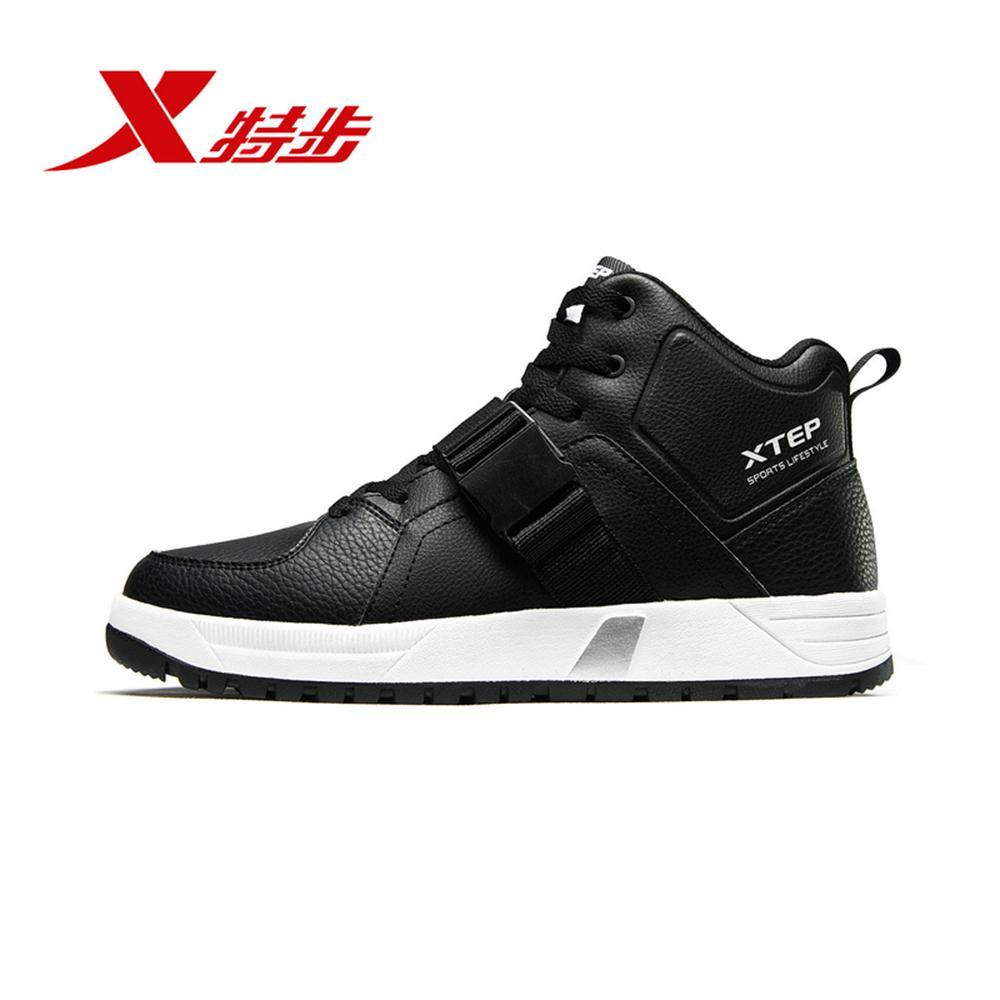 882419379563 Xtep 2018 мужская хлопковая обувь зима Новый Средний плюс бархатная теплая спортивная обувь повседневная обувь для скейтбординга