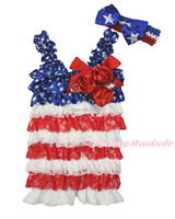 4th July Patriotic Star Crystal Rose Red White Lace Baby Girl Romper & Bow NB-3Y MARH139