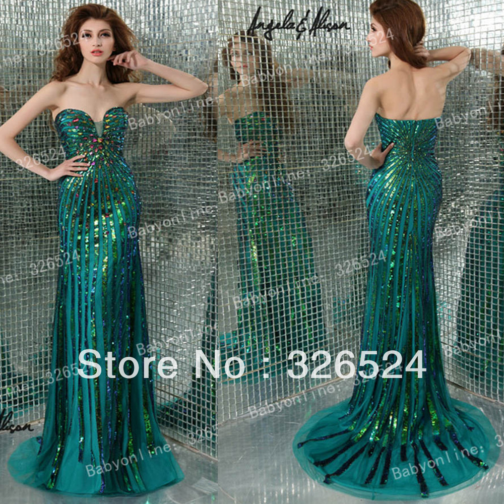 New fashion evening dress 2014 sweetheart sequin applique green ...